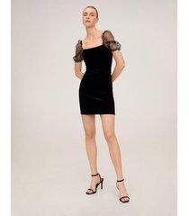 fluwelen jurk met organza mouwen