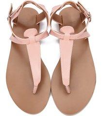 sandalias zapatos cuero elegante casual playa -rosa