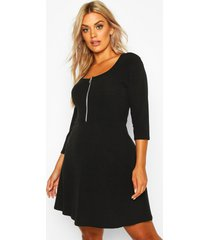 plus soft rib zip front skater dress, black