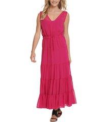 dkny sleeveless tiered maxi dress