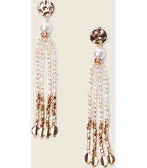motivi orecchini pendenti con perle donna bianco
