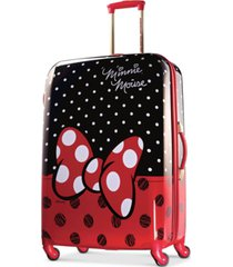 "american tourister disney minnie mouse red bow 28"" hardside spinner suitcase"