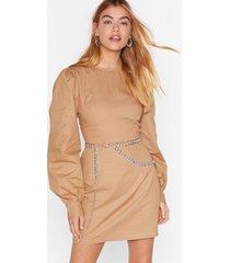 womens puff up the jam balloon sleeve mini dress - camel