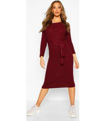 rib knitted midaxi belted dress, berry