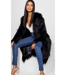 pluizige faux fur jas, black