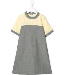 owa yurika panelled striped chambray dress - yellow