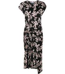 paco rabanne sakura cherry blossom midi dress - black