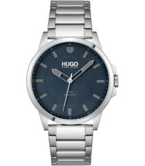 hugo men's #first stainless steel bracelet watch 43mm