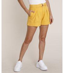 short de sarja feminino cintura alta com cinto mostarda