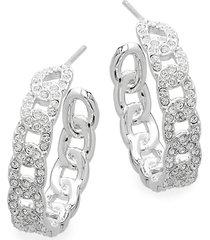 adriana orsini women's crystal chain-like hoop earrings - silver
