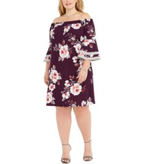 love squared trendy plus size off-the-shoulder floral dress