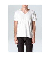 t-shirt flame gola v mc branco/gg