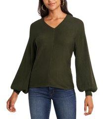 1.state rib-knit puff-sleeve sweater