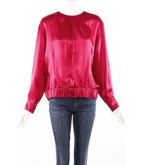 chanel pink silk long sleeve blouse pink sz: custom