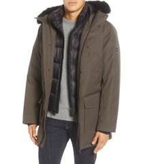men's ugg butte 3-in-1 down parka with genuine shearling trim, size x-small - green