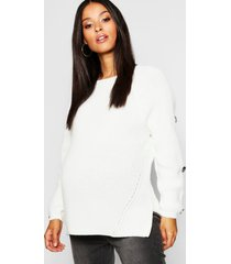 maternity horn button fisherman knit sweater, ivory