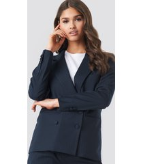na-kd classic striped double breasted blazer - blue