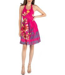 24seven comfort apparel floral print beaded halter a-line dress