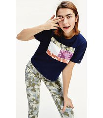 camiseta de corte cropped con logo azul tommy jeans