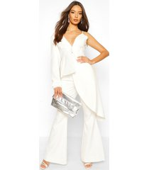 boohoo occasion waterfall one shoulder blazer, white