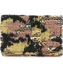 coohem knit tweed camouflage card-case - green