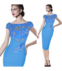 womens elegant floral embroidery ruched party cocktail bridesmaid bodycon dress