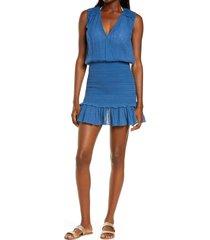 women's veronica beard cox sleeveless cover-up dress, size x-large - blue