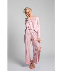 pyjama's / nachthemden lalupa la026 viscose broek met hoge splitten - roze