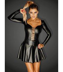 noir handmade wetlook mini jurkje egoist met zilverkleurige ringen