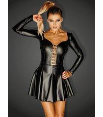 * noir handmade wetlook mini jurkje egoist met zilverkleurige ringen
