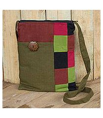 cotton shoulder bag, 'lanna rhythm in olive' (thailand)