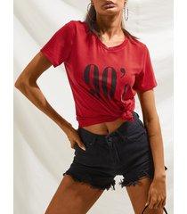 camiseta de manga corta con cuello redondo estampado yoins 90's