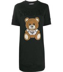 moschino sequin teddy sweatshirt dress - black
