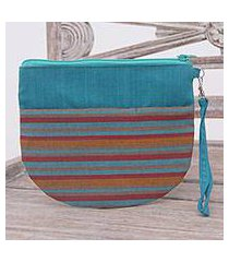 cotton clutch wristlet, 'lurik sphere teal' (indonesia)
