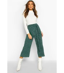 belted woven polka dot culottes, forest