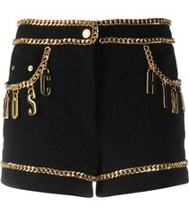 moschino chain-trimmed quilted shorts - black