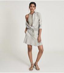 reiss kara - fabric mix mini skirt in pale green, womens, size 14