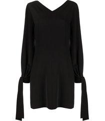 msgm tie-cuff shift dress - black