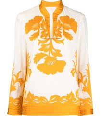 tory burch embroidered floral tunic - neutrals