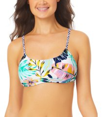 california waves juniors' printed bralette bikini top women's swimsuit