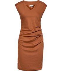 india v-neck dress knälång klänning brun kaffe