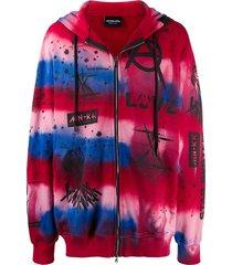 mauna kea zip-up tie-dye hoodie - blue