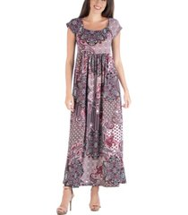 24seven comfort apparel empire waist scoop neck paisley maxi dress