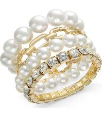 thalia sodi gold-tone 4-pc. set crystal, imitation pearl & link stretch bracelets, created for macy's