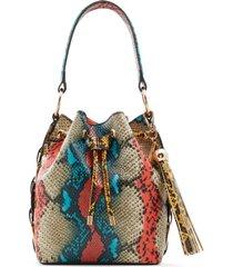 aldo gisa snake print faux leather bucket bag - blue