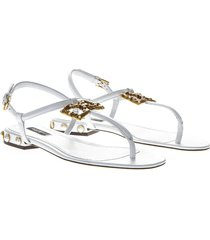 dolce & gabbana white dg amore thong sandals in leather