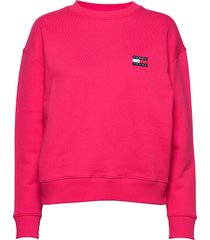 tjw tommy badge crew sweat-shirt trui roze tommy jeans