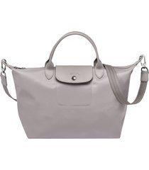 longchamp le pliage neo nylon gray handbag with shoulder strap