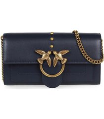 pinko love wallet simply 2 c dark blue wallet with chain