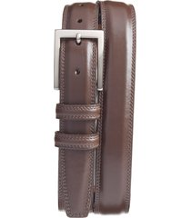 men's big & tall torino aniline leather belt, size 46 - brown